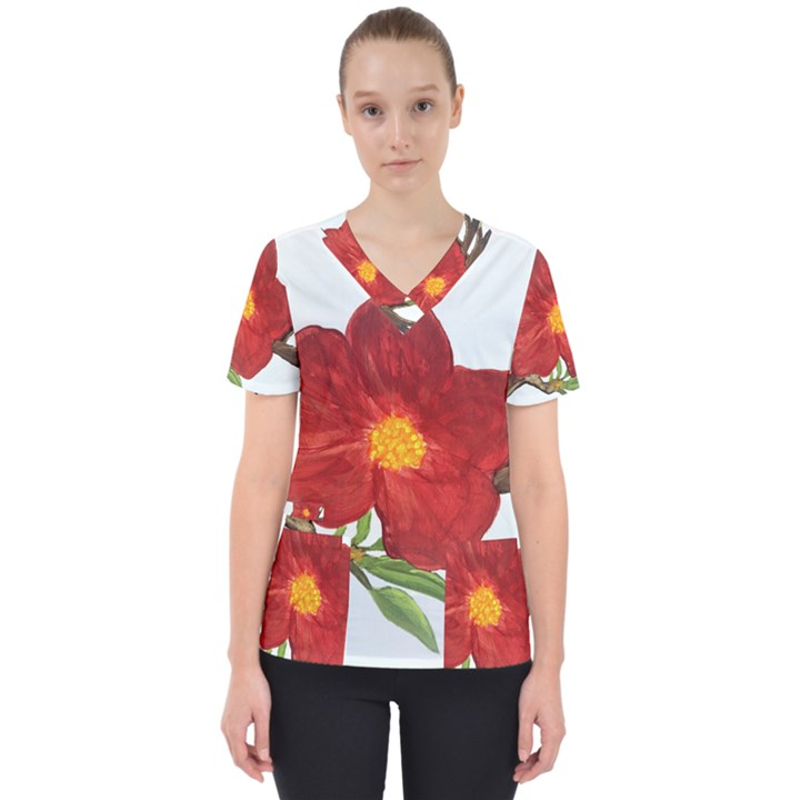 Deep Plumb Blossom Women s V-Neck Scrub Top