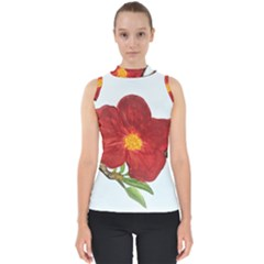 Deep Plumb Blossom Mock Neck Shell Top by lwdstudio