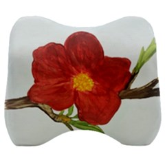 Deep Plumb Blossom Velour Head Support Cushion by lwdstudio
