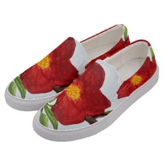 Deep Plumb Blossom Men s Canvas Slip Ons by lwdstudio