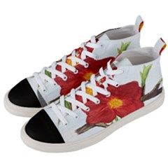 Deep Plumb Blossom Men s Mid Top Canvas Sneakers by lwdstudio