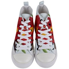 Deep Plumb Blossom Women s Mid Top Canvas Sneakers