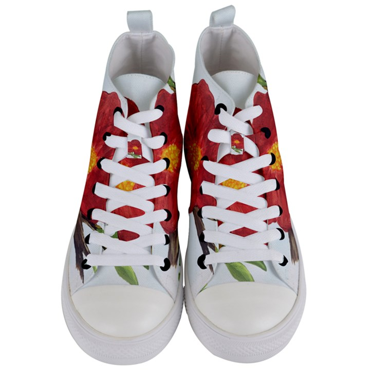 Deep Plumb Blossom Women s Mid-Top Canvas Sneakers
