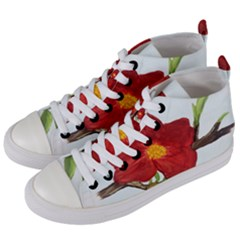 Deep Plumb Blossom Women s Mid Top Canvas Sneakers by lwdstudio