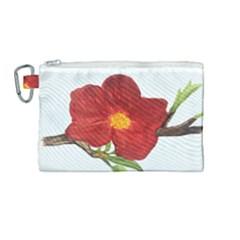 Deep Plumb Blossom Canvas Cosmetic Bag (medium)
