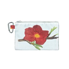 Deep Plumb Blossom Canvas Cosmetic Bag (small) by lwdstudio