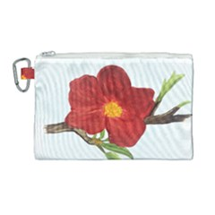 Deep Plumb Blossom Canvas Cosmetic Bag (large)