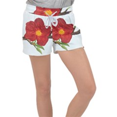 Deep Plumb Blossom Women s Velour Lounge Shorts