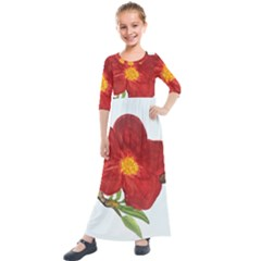 Deep Plumb Blossom Kids  Quarter Sleeve Maxi Dress