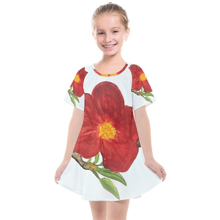 Deep Plumb Blossom Kids  Smock Dress