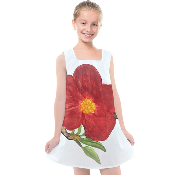 Deep Plumb Blossom Kids  Cross Back Dress