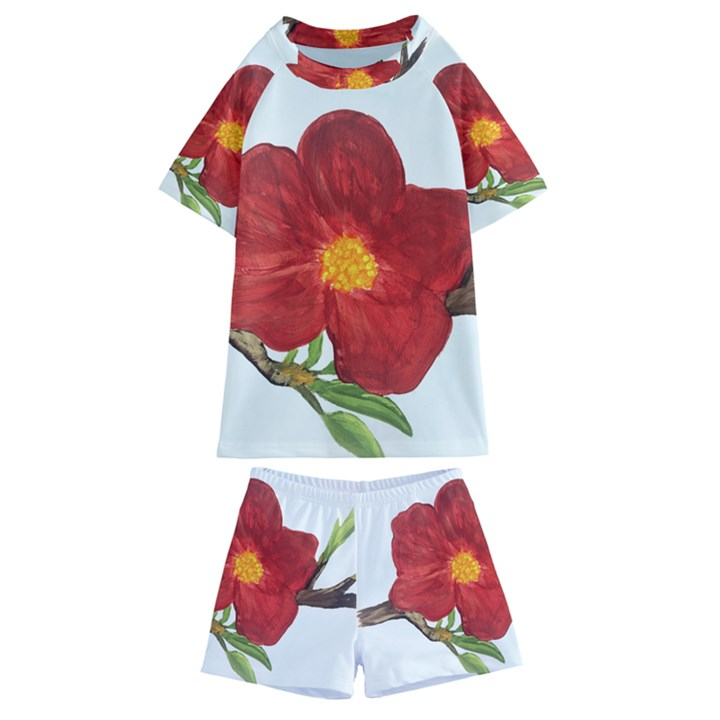 Deep Plumb Blossom Kids  Swim Tee and Shorts Set