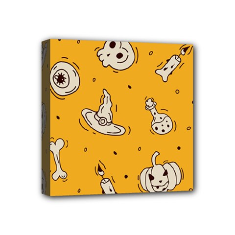 Funny Halloween Party Pattern Mini Canvas 4  X 4  (stretched)