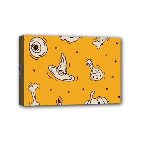 Funny Halloween Party Pattern Mini Canvas 6  X 4  (stretched)