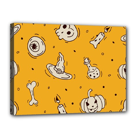 Funny Halloween Party Pattern Canvas 16  X 12  (stretched)