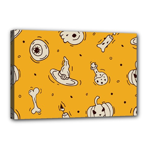Funny Halloween Party Pattern Canvas 18  X 12  (stretched)