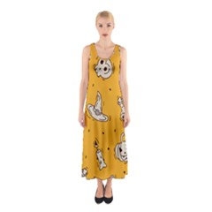 Funny Halloween Party Pattern Sleeveless Maxi Dress