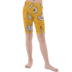 Funny Halloween Party Pattern Kids  Mid Length Swim Shorts