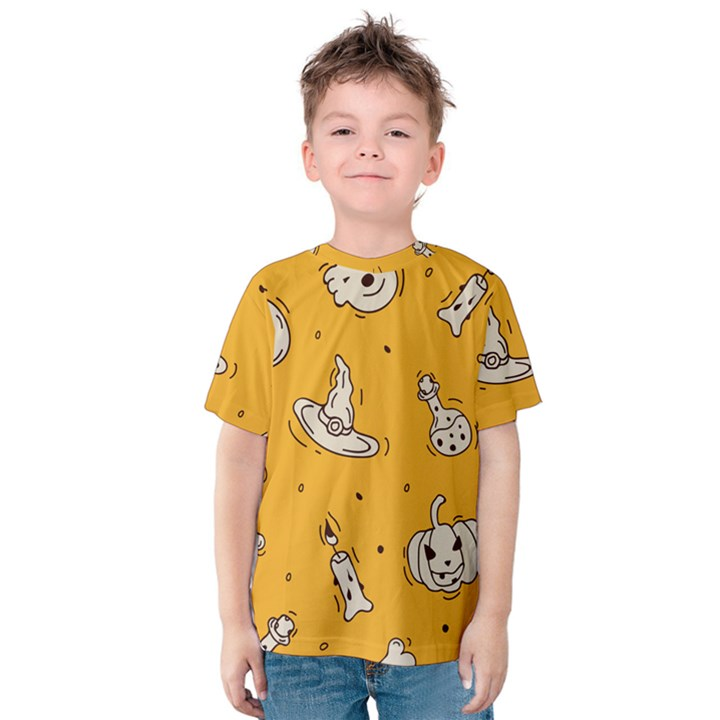 Funny Halloween Party Pattern Kids  Cotton Tee