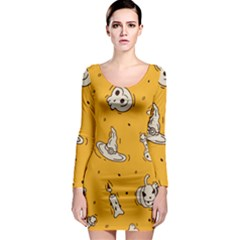 Funny Halloween Party Pattern Long Sleeve Bodycon Dress