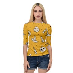 Funny Halloween Party Pattern Quarter Sleeve Raglan Tee