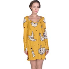 Funny Halloween Party Pattern Long Sleeve Nightdress