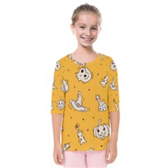 Funny Halloween Party Pattern Kids  Quarter Sleeve Raglan Tee
