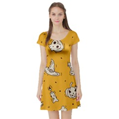 Funny Halloween Party Pattern Short Sleeve Skater Dress