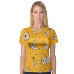 Funny Halloween Party Pattern V Neck Sport Mesh Tee