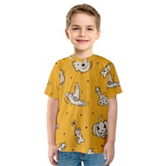 Funny Halloween Party Pattern Kids  Sport Mesh Tee