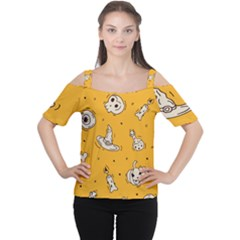 Funny Halloween Party Pattern Cutout Shoulder Tee