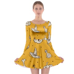 Funny Halloween Party Pattern Long Sleeve Skater Dress