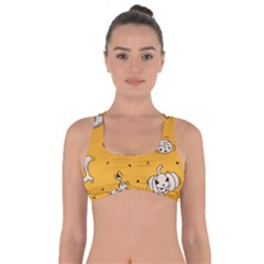 Funny Halloween Party Pattern Got No Strings Sports Bra