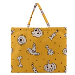 Funny Halloween Party Pattern Zipper Large Tote Bag