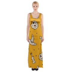Funny Halloween Party Pattern Maxi Thigh Split Dress