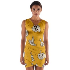 Funny Halloween Party Pattern Wrap Front Bodycon Dress