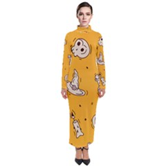 Funny Halloween Party Pattern Turtleneck Maxi Dress