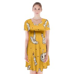 Funny Halloween Party Pattern Short Sleeve V Neck Flare Dress