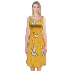 Funny Halloween Party Pattern Midi Sleeveless Dress