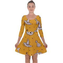 Funny Halloween Party Pattern Quarter Sleeve Skater Dress