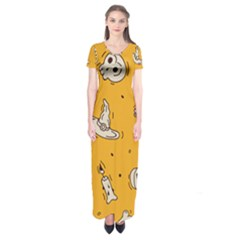 Funny Halloween Party Pattern Short Sleeve Maxi Dress