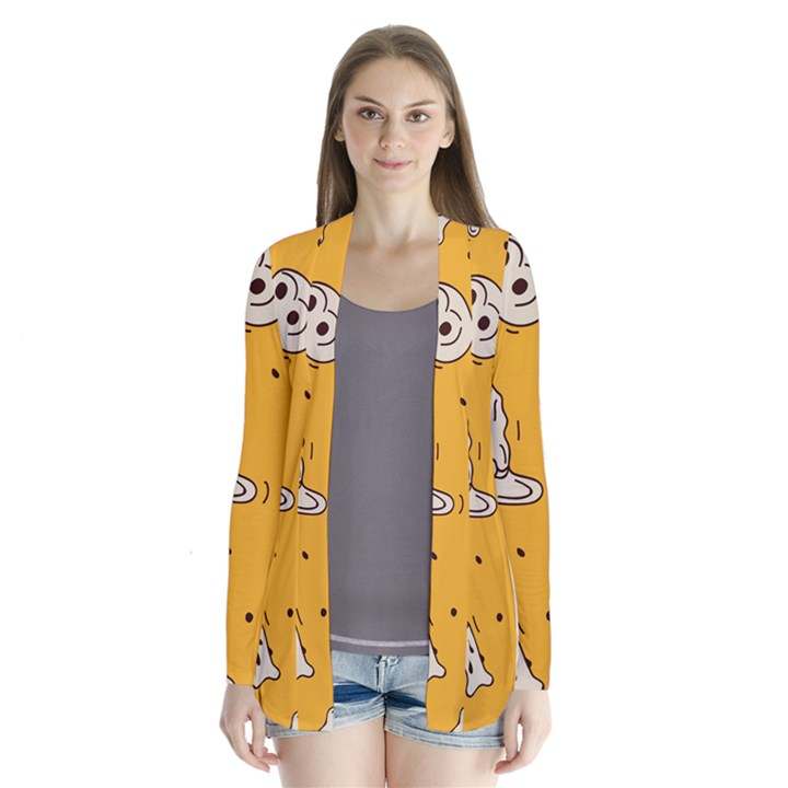 Funny Halloween Party Pattern Drape Collar Cardigan