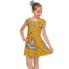 Funny Halloween Party Pattern Kids Cap Sleeve Dress