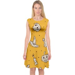 Funny Halloween Party Pattern Capsleeve Midi Dress