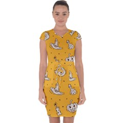 Funny Halloween Party Pattern Capsleeve Drawstring Dress