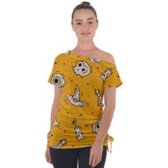 Funny Halloween Party Pattern Tie Up Tee