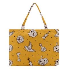 Funny Halloween Party Pattern Medium Tote Bag by HalloweenParty