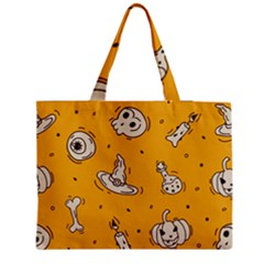 Funny Halloween Party Pattern Zipper Medium Tote Bag