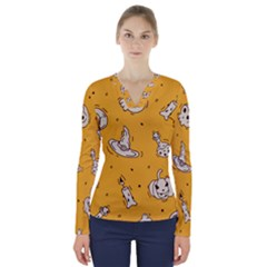 Funny Halloween Party Pattern V Neck Long Sleeve Top
