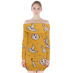 Funny Halloween Party Pattern Long Sleeve Off Shoulder Dress